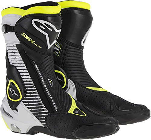 Vented Racing Boots - Alpinestars Mens SMX Plus Vented Boot (Black/White/Yellow, EU 44)