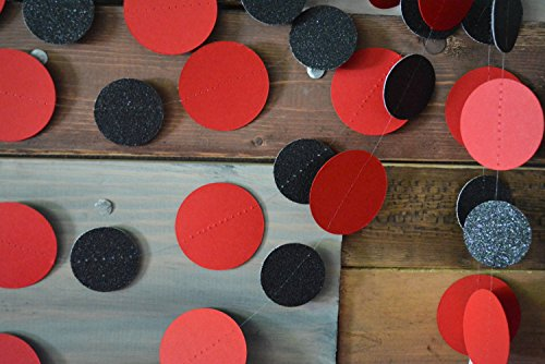 Red and Black Glitter Paper Garland