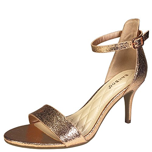 eel Single Band Sandal with Ankle Strap, Rose Gold PU, 6.0 B US ()