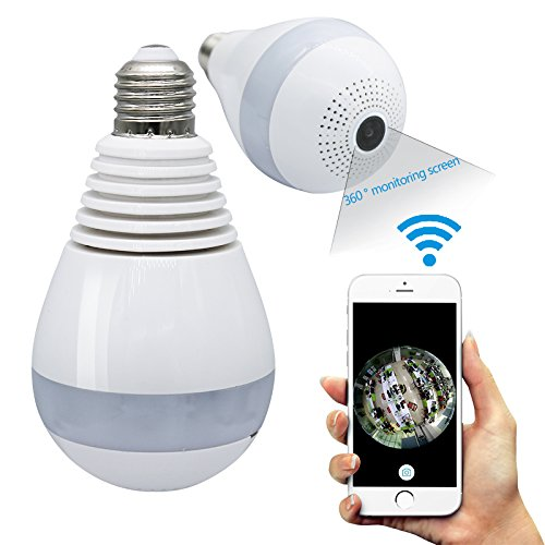 360°Degree Fisheye Panoramic IP Camera,xinmaous 1080P HD Wireless Wifi Camera,LED Bulb Light Home Security Camera White