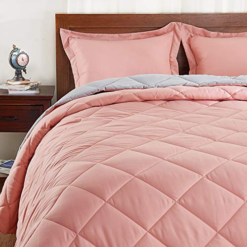 Basic Beyond Down Alternative Comforter Set (Queen, Coral/Grey) - Reversible Bed Comforter with 2 Pillow Shams for All Seasons (Pink And Grey Comforter Set Queen)