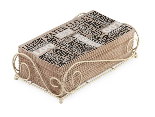 Boston International Guest Towel Caddy, Savannah Design in Antique White Ideal Home Range BID171
