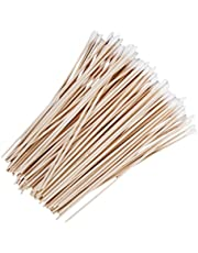 D DOLITY 100pc Wood Handle Stick Cotton Swabs Buds Facial Lab Cleaning Tool 15cm Long