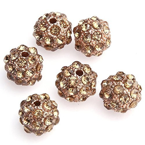 Beautiful Bead10mm Rose Gold Crystal Rhinestone Disco Ball Beads for Bracelet Making?(10pcs)