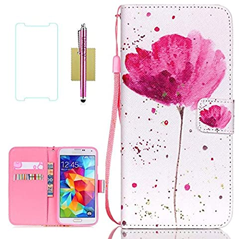 Galaxy S5 Case, S5 Case, Samsung Galaxy S5 Case, Uncle.Y Wallet Flip PU Leather Case Folio Protector Cover Case with Card Holder and Strap Case for Samsung Galaxy S5 I9600 (Flip Cover Cases For Galaxy S5)