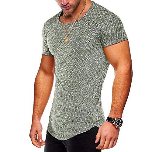 Hipster Men Short Sleeve Cotton Shirt Stripe Curved Hem Slim Fit Tops Green9 L