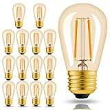 Hizashi 15 Pack 2W Truly and Ultra Warm Dimmable LED S14 2200K Filament Bulbs Medium Base (E26), Outdoor Amber Edison Bulbs, 25W Equivalent, Outdoor String Lights Bulbs Replacement, UL Listed