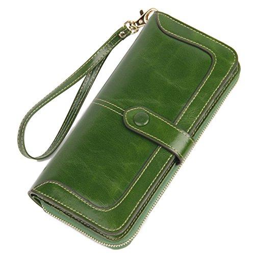 513wWRCritL - Anvesino Women's RFID Blocking Real Leather Wallet Ladies Zipper Wristlet Clutch Green