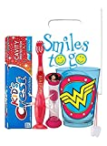DC Comics Wonder Woman Inspired 4pc Bright Smile Oral Hygiene Bundle! Light Up Toothbrush, Toothpaste, Brushing Timer & Mouthwash Rise Cup! Plus Dental Gift Bag &Remember to Brush Visual Aid!