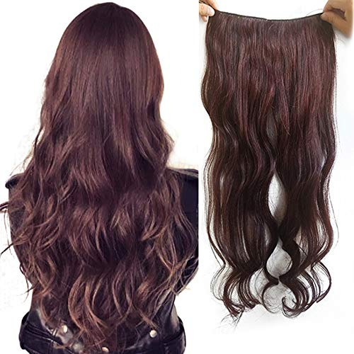 Wavy Halo Hair Extensions Real Human Hair RemeeHi Hidden Crown Halo Invisible Wire Hair Pieces for Women 80g, 20 Inches 2# Nature Dark Brown