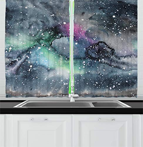 (Ambesonne Psychedelic Decor Kitchen Curtains, Space Galaxy Inspired Hazy Grunge Modern Celestial Cosmic Fantasy Design, Window Drapes 2 Panels Set for Kitchen Cafe, 55 W X 39 L Inches, Multicolor)