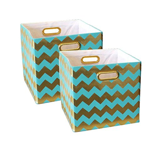 BAIST Decorative Storage Cubes,Pretty Foldable Linen Fabric Bed Storage Bins Baskets for Toys Clothes Towel First Day of School-2 Pack,Aqua Chevron