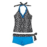 iEFiEL Girls Summer Swim Geometric Two Piece Halter Tankini Bathing Suit Blue 13-14