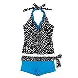 iEFiEL Girls Summer Swim Geometric Two Piece Halter Tankini Bathing Suit Blue 13-14