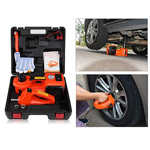 Zerone Electric Car Jack, Automotive Electric Jack Lifting 5Ton 12V DC Floor Jack Lift Garage Emergency Equipment 3 in 1 Emergency Car Repair Tool Kit with Electric Impack Wrench
