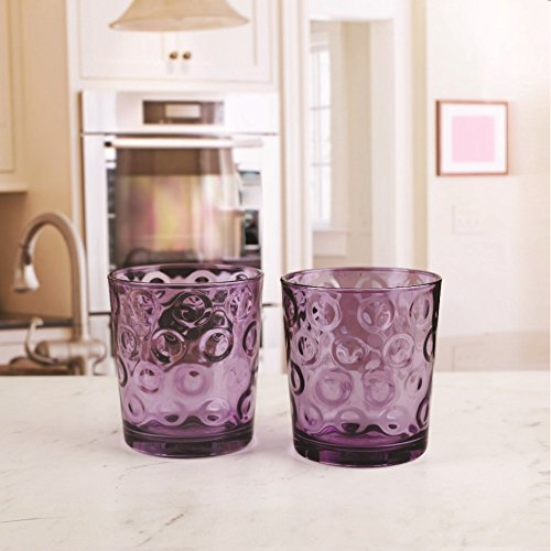 Circleware 44806 Circles Plum Huge Set of 16 Drinking 17 oz. and 8-13 oz. Double Old Fashioned Whiskey Juice Water Beer Beverage Glass, 16pc Set by Circleware (Image #3)