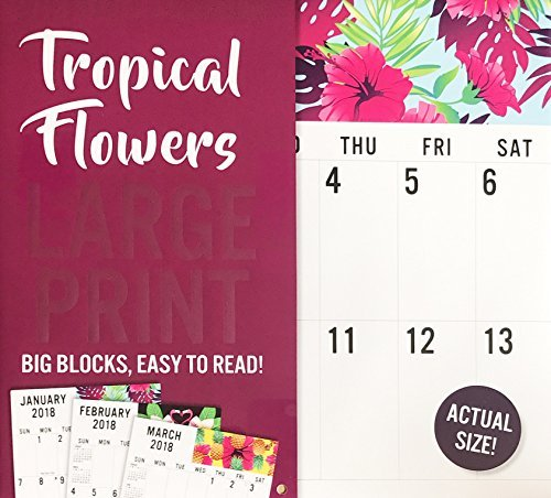 Tropical Flowers LARGE PRINT 2018 Wall Calendar 16 (Large Print Wall Calendar)