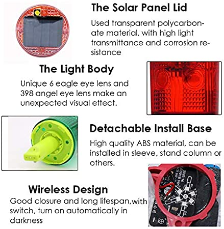Green Aolyty Solar Strobe Warning Light 360 Degree Single Column Super Bright Waterproof IP48 for Construction Traffic Dock Marine Wireless Light Control Flashing with Switch