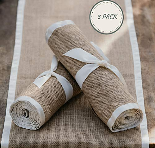 3 X Pack Burlap Table Runner - Natural Burlap Fabric Runner, Soft Ribbon Edging - 12 X 108 inch - Textured Jute Table Runners to Inspire a Rustic Relaxed Elegance for Dining, Farmhouse, Wedding - 🌿INSTANT RUSTIC SOPHISTICATION: No more boring, basic events with this perfect rustic table runner. They will warm up your festivities with a zesty energy and create a relaxed atmosphere with an earthy feel. 🌿PREMIUM DESIGN – THICK WEAVE/SEWN EDGES: Made from 100% natural fiber, the thick high density weave creates a durable and sturdy table runner. The edges are sewn with high quality soft ribbon which highlights the rich golden brown burlap fabric. The ends are finished in natural over-lock stitch making them fray-resistant. 🌿AMAZING VERSATILITY: Our burlap table runners are perfect for kitchen decor, rustic wedding decor, backdrops, centerpiece displays, dining table runner, fireplace mantels, holiday table runner, banquet tables, boho table runner, baby showers, farmhouse coffee table runner, burlap tree wrap, folded for a small table runner, family reunions, or a spacious farmhouse decor display. Let your creative juices flow - try adding flowers, garlands or candles for a focal point – relax and enjoy. - table-runners, kitchen-dining-room-table-linens, kitchen-dining-room - 513wXY79qZL -
