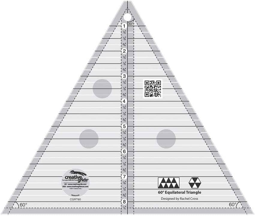 Creative Grids 60 Degree Equilateral Triangle 8 Quilting Ruler Template cgrT60