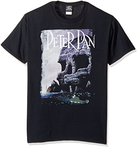 Disney Men's Peter Pan Tinkerbell Skull Rock Tick-Tock Graphic T-Shirt, Black, ()