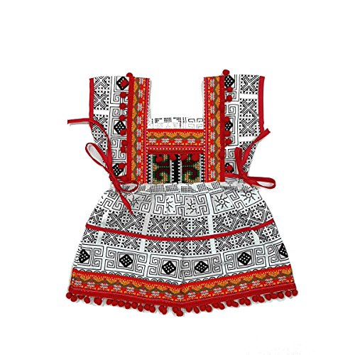 ARTIIDCO Beautiful Woven Cotton Ethnic Thai Girl Dress Hand Embroidered Details and Colorful Pompoms 1 to 2 (Thai Embroidered Dress)