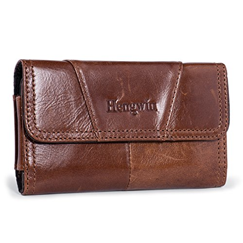 Belt Loop Holster Case Hengwin Premium Leather Phone Case Belt Pouch Horizontal Cellphone Holster Carrying Case Men Waist Bag Compatible for iPhone Xs Max XR 6s 7 8 Plus(Brown)
