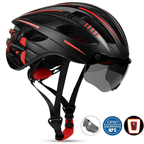 Shinmax Adults Bike Helmet, Road Cycling MTB Bike Helmet for Men & Women Cycling, Racing (Black-red)