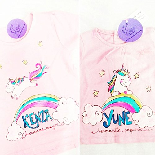 Camiseta pintada a mano Unicornios. Se personaliza