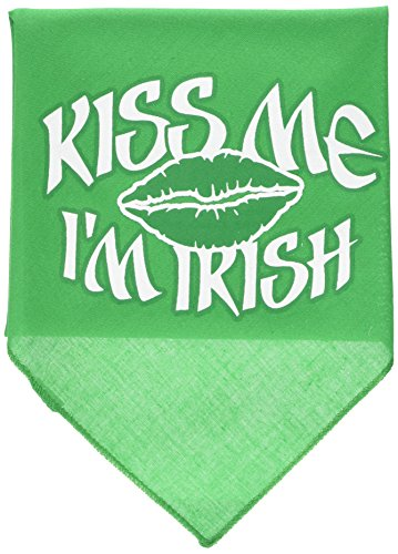 (Mirage Pet Products Kiss Me I'm Irish Screen Print Bandana, Large, Emerald Green)