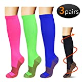Copper Compression Socks For Men & Women(3 Pairs)-Boost Performance, Speed Up Recovery, Better Blood Circulation - For All Sports, Flight, Air Travel, Nurse, Medical Use (S/M, Multicoloured)