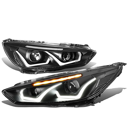 Ford Focus Pair Black Housing Clear Signal Dual U-HALO DRL + LED Turn Signal Projector Headlight - Focus Dual Halo Projector Headlights