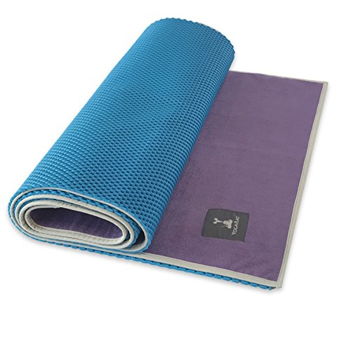 Waffle Yoga Mat & Gummy Cush Yoga Towel Set – Foldable Yoga Mat & Silicone Backed, Ultra Thick Yoga Mat Towel – For All Yoga Types – Perfect For Hot Yoga – Makes a Great Travel Yoga Mat – 24″ x 72″