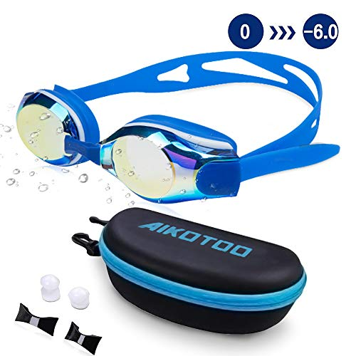 AIKOTOO Swim Goggles,Shortsighted Swimming Goggles Myopic with Prescription Lenses Anti Fog Nose Clip Ear Plugs for Women Kids Men, Swimming Goggles