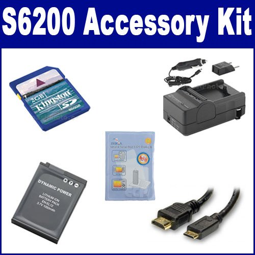 Nikon Coolpix S6200 Digital Camera Accessory Kit includes: SDENEL12 Battery, SDM-197 Charger, KSD2GB Memory Card, HDMI3FM AV & HDMI Cable, ZELCKSG Care & Cleaning by Synergy Digital