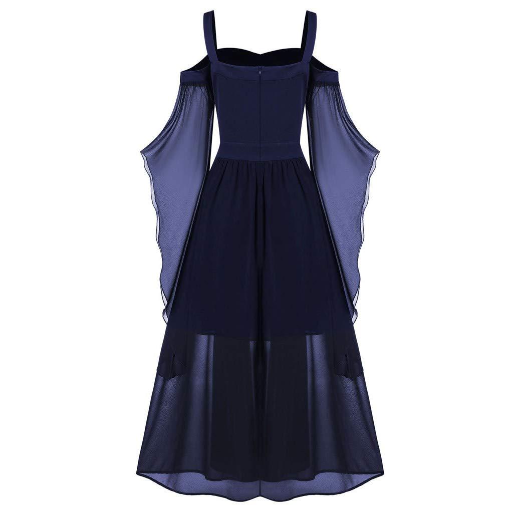LODDD Womne Vintage Dress Plus Size Cold Shoulder Butterfly Sleeve Lace Up Halloween Dress
