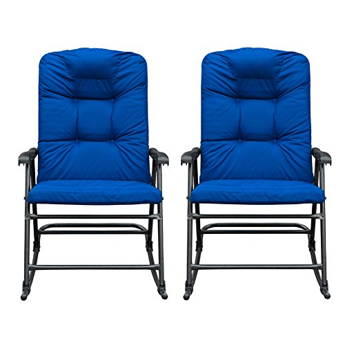 SunLife Outdoor Foldable Rocking Chair Set, Modern Patio/Backyard/Camping Lounge Rockers with Blue Padded Cushions, Set of 2 ()