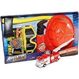 Firefighter Kids Gift bundle Deluxe Role Play Set and 1 Die Cast Red Fire Engine Light & Sound and 1 Kids Firemans Hat Helmet One Size Fits All- Battery included.