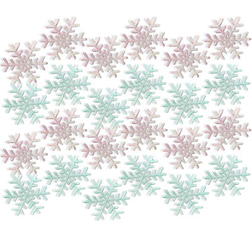 BANBERRY DESIGNS Pink and Blue Snowflakes - Set of 24 Snowflake Ornaments - 12 Frosted Pink and 12 Frosted Blue Snowflakes - Winter Baby Shower ()