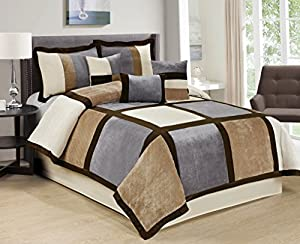 7 Piece Brandy Patchwork Comforter Set Queen 4 Color (Coffee/Grey/White-04)