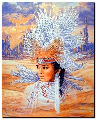 - Native American Wall Decor Indian Maiden Wearing a Headdress Art Print Poster (16x20)