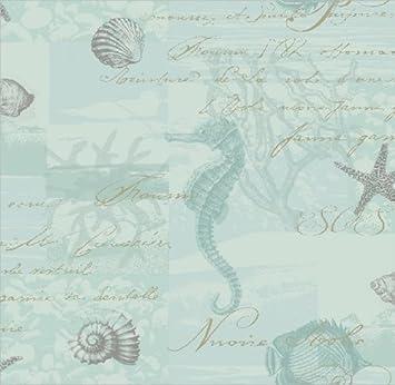Badezimmer Tapete Flaschenpost Seepferd Muschel Seestern Koralle Fische    Aquamarin
