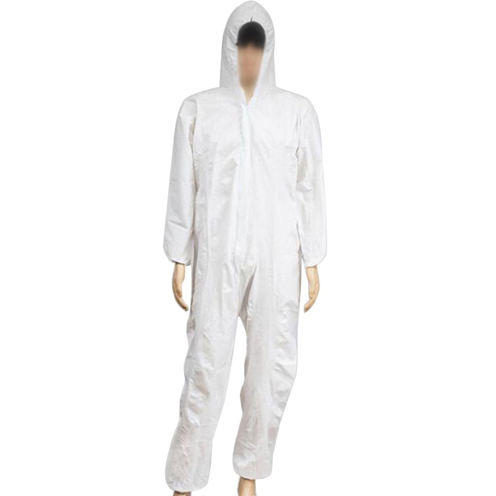 Zinnor Disposable Hooded Coveralls Chemical Protective Suits, Elastic Cuffs, Front Zipper Closure ,Serged Seams for Spray Painting Surgical Industrial (Large, White)