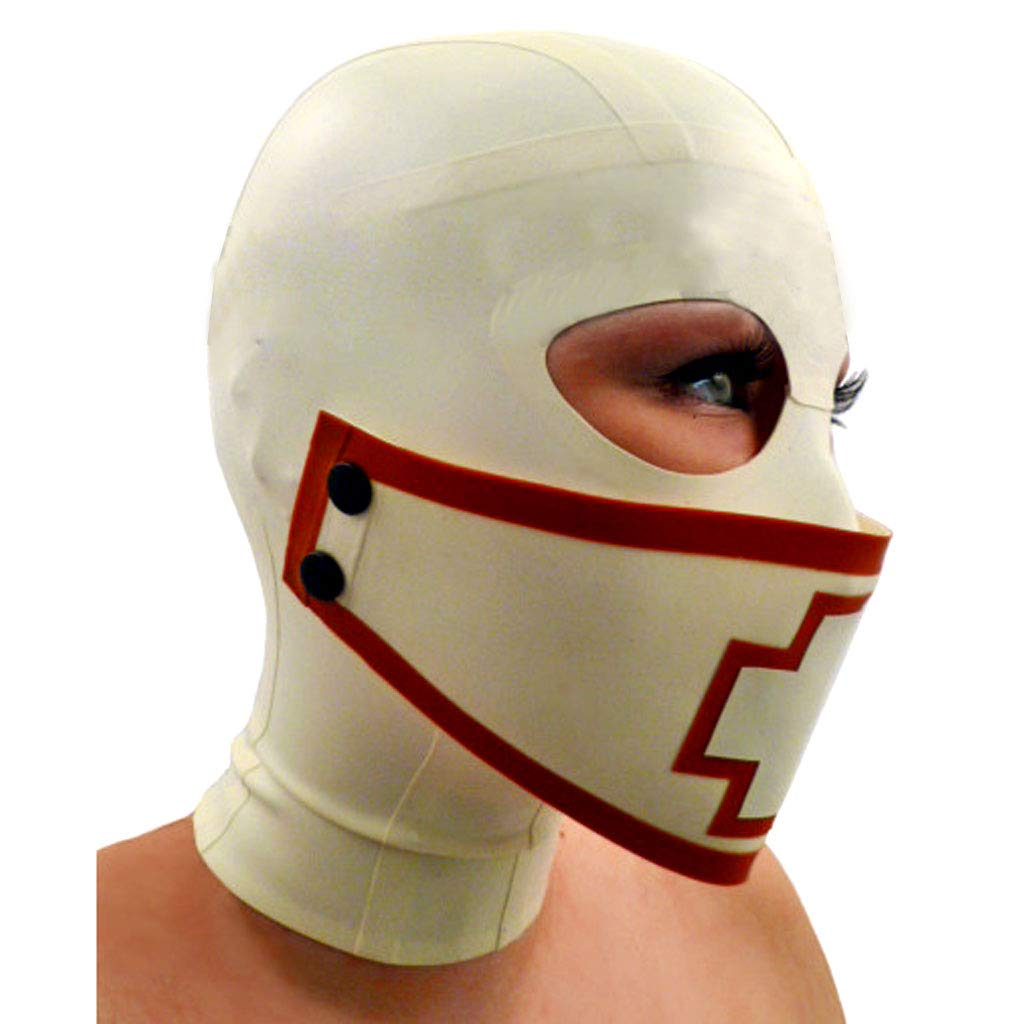 TINGSHOP Baotou Suffocating Fun Mask, SM Natural Latex Headgear Removable Mask with Zipper Comfortable and Breathable Adult Clothing BDSM SM Bondage Role-Playing Clothing,White,S by TINGSHOP