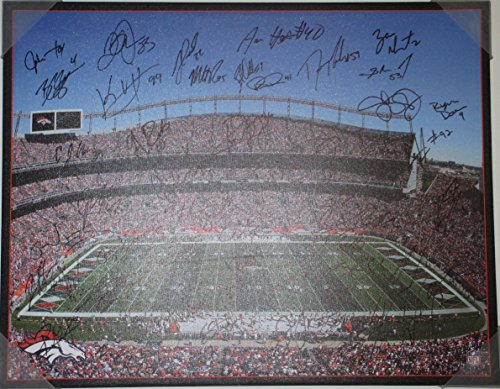 2013 Denver Broncos Team Autographed Hand Signed Canvas Print with 43 Signatures Total Including Peyton Manning and Von Miller with Proof Photos of Signing and COA