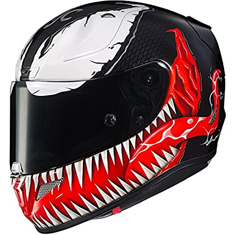 HJC Helmets Marvel Unisex-Adult Full-Face Helmet (Black/Red/White, Large) (RPHA-11 Pro Venom MC-1) - White Full Face Helmet