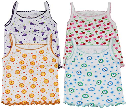 ToBeInStyle Girls' 4 Pack Ruffle Hem Spaghetti Strap Tops - Fruit - 6-9 Months (Best Fruits For 6 Months Baby)