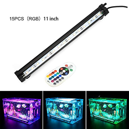 LONDAFISH Aquarium Air Bubble Lights LED Fish Tank Light Lighting Remote Control 3.8W/5.8W 16 Colors (3.8W/15 Lights) -