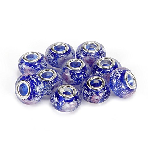 (BRCbeads Top Quality 10Pcs Silver Plate Sapphire Color Style #2 Murano Lampwork European Glass Crystal Charm Beads Spacers Fit Troll Chamilia Carlo Biagi Zable Snake Chain Charm Bracelets.)