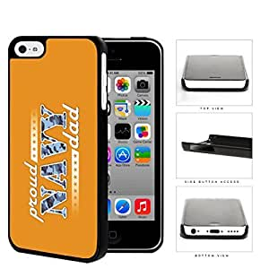 Proud Navy Dad with Blue Camo Letters with Orange Background iPhone 5c Hard Snap on Plastic Cell Phone Case Cover